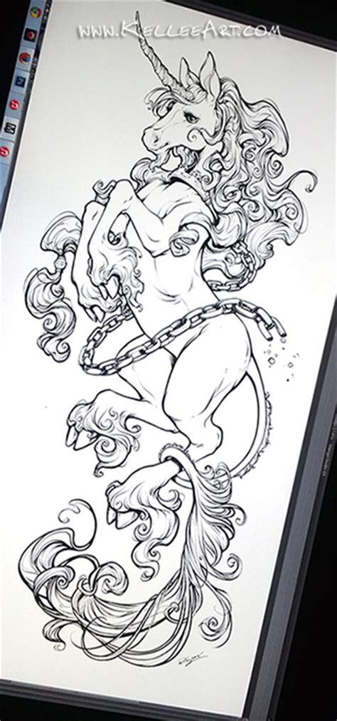 unicorn tattoo design by kelleeart on deviantart