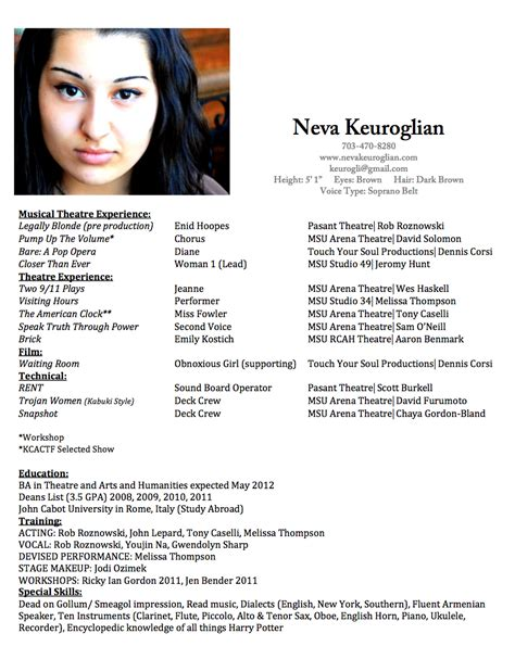 sle musical theatre resume how to write a musical theatre resume 28 images