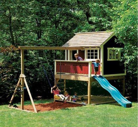 kids outdoor wooden playhouse swing set detailed plan