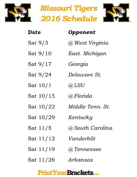 printable tigers schedule printable missouri tigers football schedule 2016