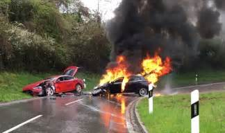 Electric Car Explosion Crash Involving Tesla Model S And Gas Fueled Car Results