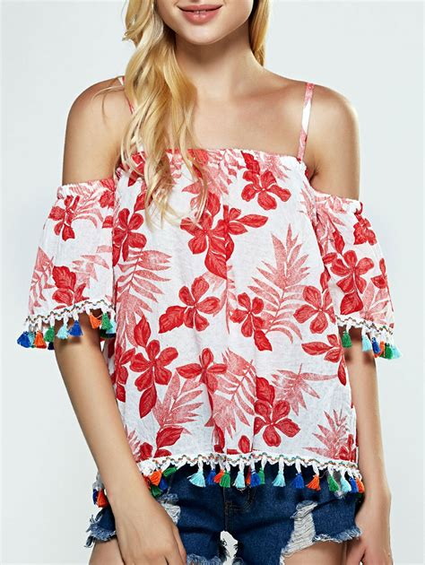 White Sweet Flowery M L Xl Blouse 31693 buy cold shoulder tassel floral blouse with white s at sammydress goods catalog
