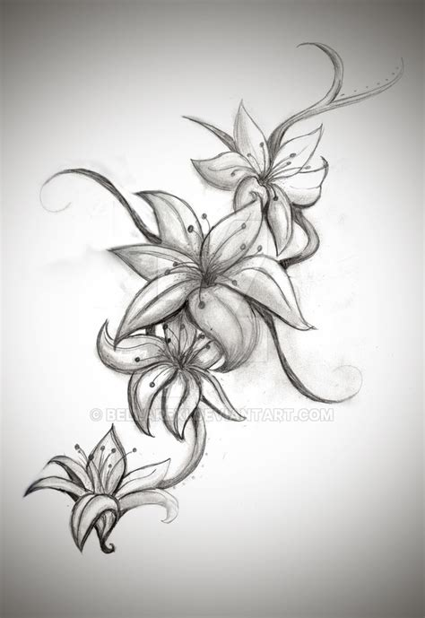 lily tattoo design by bellarexi on deviantart