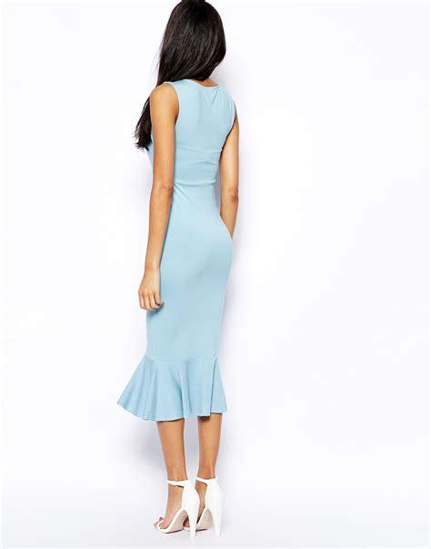 Blue Peplum Dress asos peplum hem midi pencil dress in blue lyst