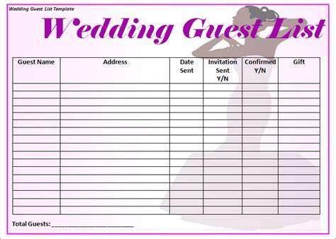 Wedding Guest List Template 6 Free Sle Exle Format Free Premium Templates Printable Wedding Guest List Template