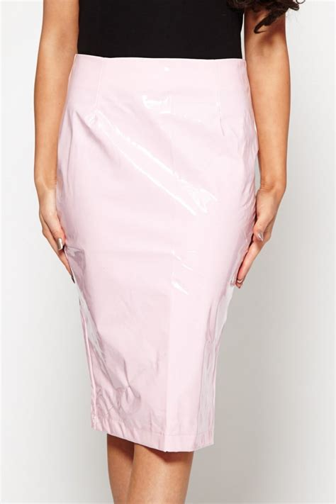 pale pink pvc midi skirt from dollywood boutique uk