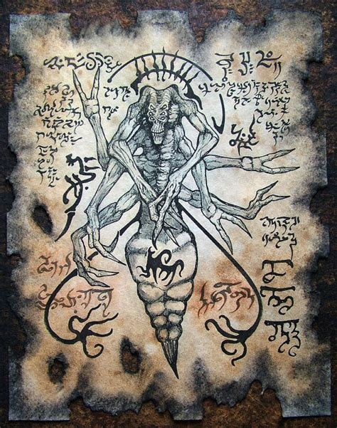 libro medieval monsters spider demon cthulhu necronomicon fragment sword and sorcery
