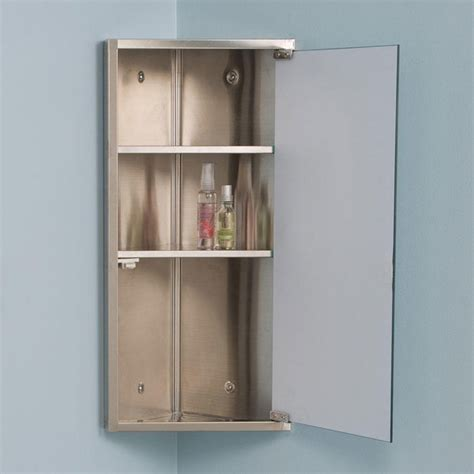 Corner Bathroom Cabinet With Mirror Kugler Stainless Steel Corner Medicine Cabinet Medicine Cabinets Bathroom