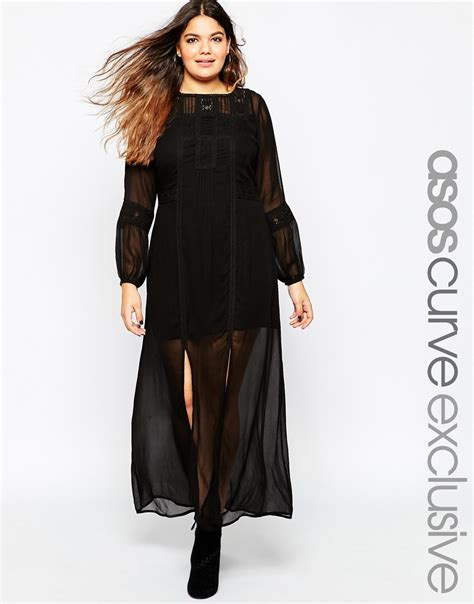 Maxi Bohemian Dress Alia Black asos boho maxi dress with crochet lace inserts in black lyst