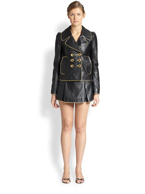 marc metallic piped pleated leather mini skirt in black