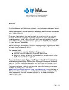 Npi Certification Letter bcbs mitchigan non payment codes
