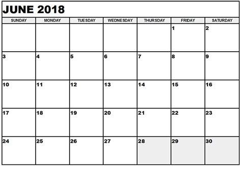 printable calendar june 2018 free june 2018 calendar printable blank templates word