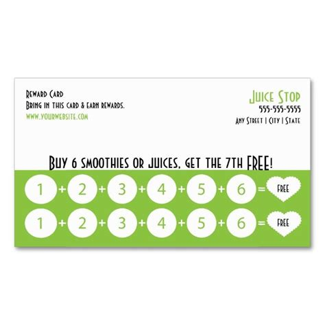 smoothie punch cards template 1570 best images about customer loyalty card templates on
