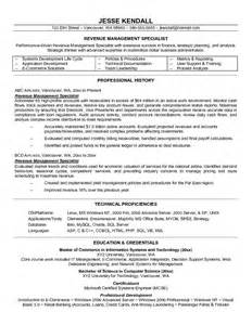 Revenue Specialist Sle Resume by Exle Revenue Management Specialist Resume Free Sle