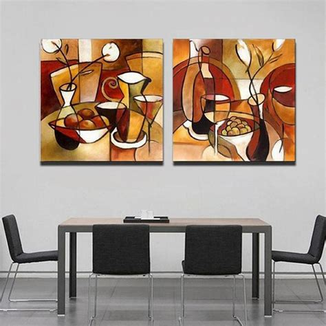 home decorating with modern art unframed 2 panel handmade flower cup set abstract modern