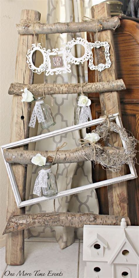 rustic shabby chic home decor rustic wood ladder decor with diy shabby chic frames
