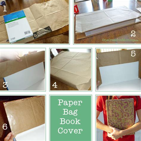 How To Make Book Cover From Paper Bag - diy paper book cover onecreativemommy