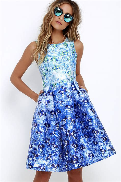 Blue And Flower Flowers S M L Dress 43431 lovely blue floral print dress midi dress sleeveless