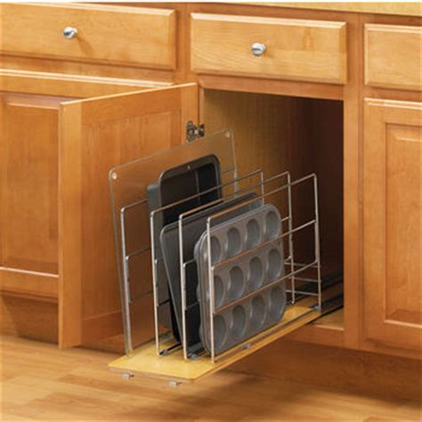 kitchen cabinet roll out trays tray organizers divide your cookie sheets pots and pans