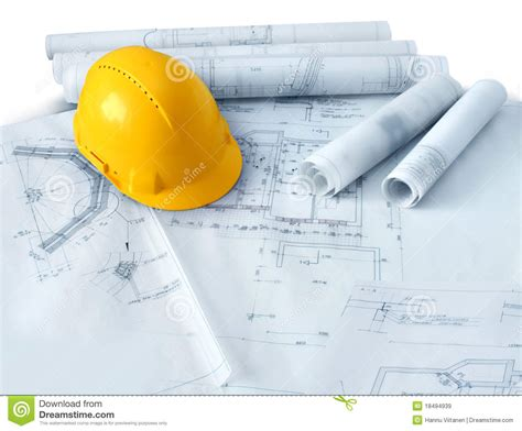 plan builder construction plans and hard hat royalty free stock images