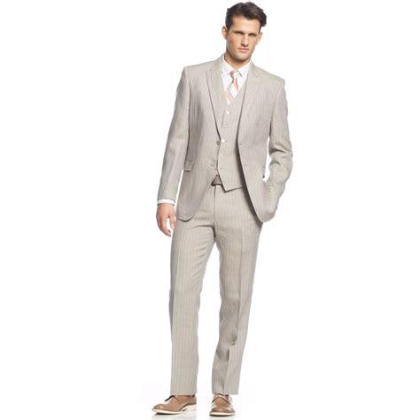 light gray vested suit by ralph grey linen stripe vested