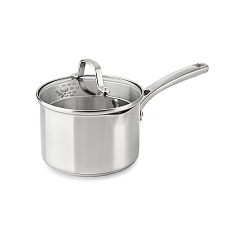 bed bath and beyond calphalon calphalon 174 classic stainless steel 2 5 qt covered sauce
