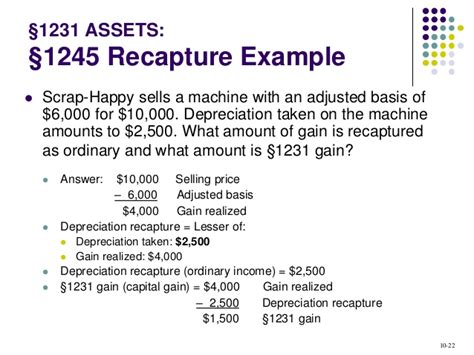 section 1250 depreciation recapture exle acct321 chapter 10