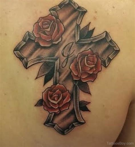 cross tattoo with rose christian tattoos designs pictures page 8