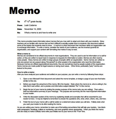 memo templates 7 sles exles format sle