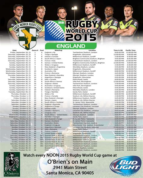 printable calendar rugby world cup 2015 2015 rugby world cup schedule pacific time