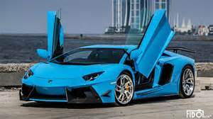 photoshoot azure blue lamborghini aventador lp 700 4 by
