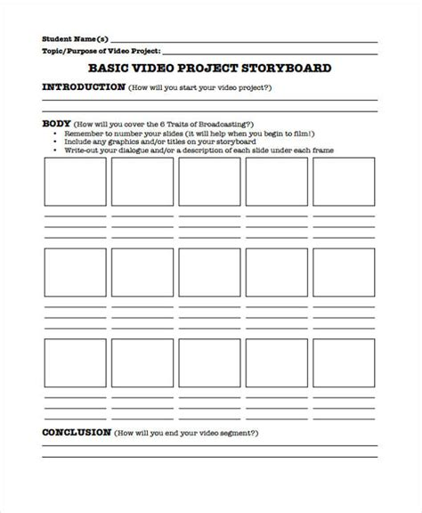 project storyboard project storyboard templates 6 free word pdf format
