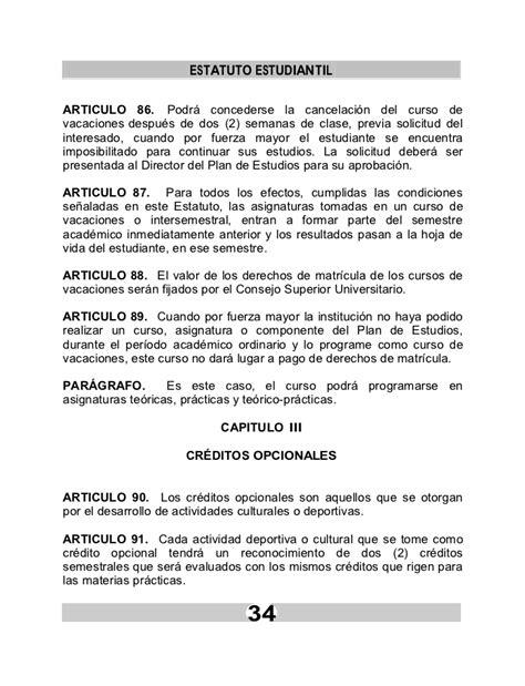 carta de cancelacion semestre estatuto ufps