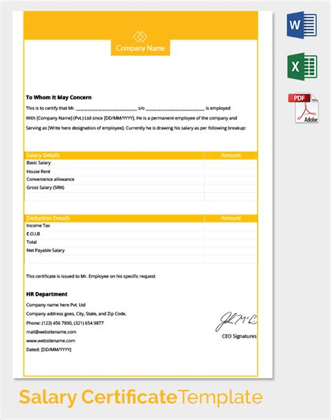 employee salary template sle salary certificate template 21 documents in pdf