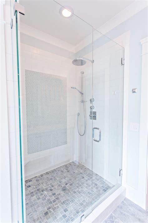 Gray marble Shower Floor   Transitional   bathroom