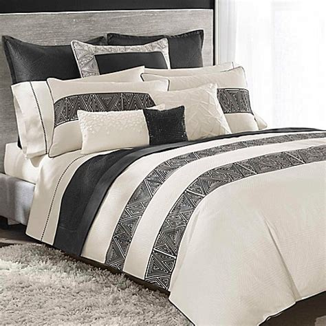 Black And Ivory Bedding Sets Buy Catherine Malandrino Optic Duvet Cover In Black Ivory From Bed Bath Beyond