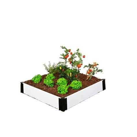 Raised Garden Bed Frame Frame It All 4 Ft X 4 Ft X 8 In White Composite Raised Garden Bed Kit 300001201 The Home Depot