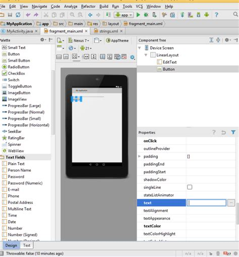android studio list layout android studio cannot change layout button properties