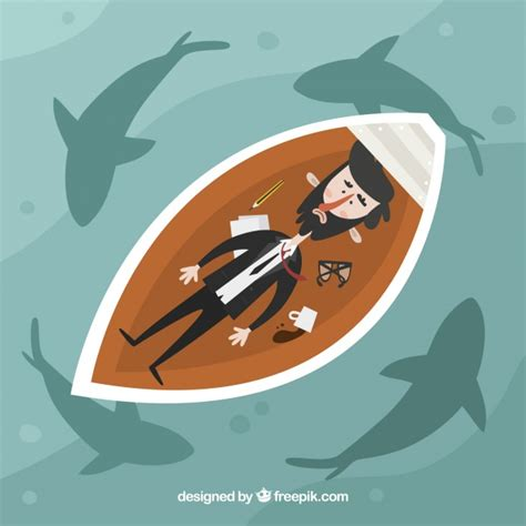 sinking boat surrounded by sharks businessman in a boat surrounded by sharks vector free