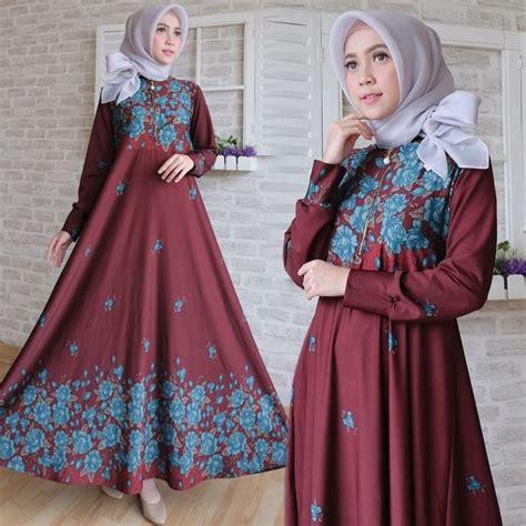 Gamis Maxi Jersey Bunga maxi calvin motif bunga baju gamis cantik terbaru