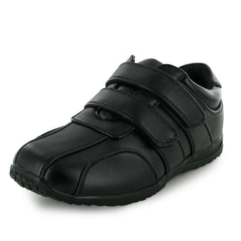 velcro school shoes new boys black velcro flat school shoes size 10 6 ebay