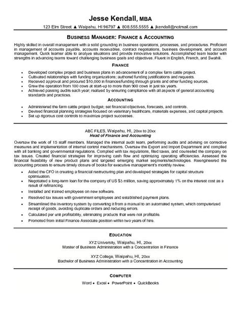 exle finance and accounting resume free sle