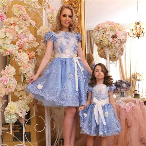 mother dresses son as daughter at bigcloset bolero dress blue floral lace tulle dress mother by