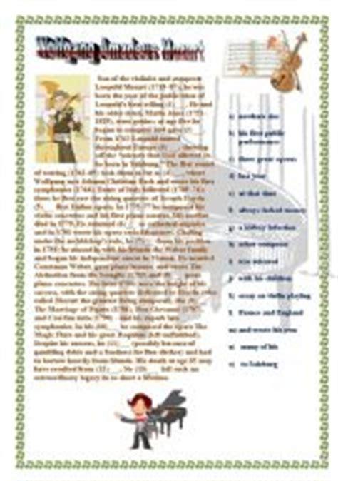 mozart biography easy english exercises mozart biography