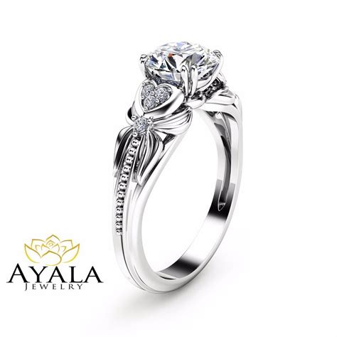 14k white gold engagement ring shaped ring