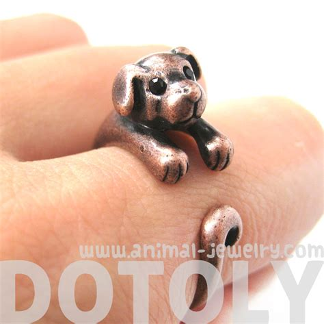 puppy ring miniature puppy animal wrap ring in copper sizes 5 to 9 183 dotoly animal jewelry