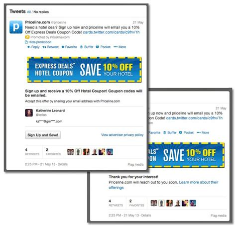 Priceline Digital Gift Card - lead gen cards bring landing pages to twitter lonelybrand