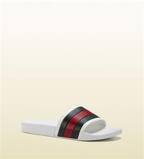 white gucci sandals gucci white rubber slide sandal in white for lyst