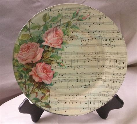 always decoupage glass plate featuring vintage by
