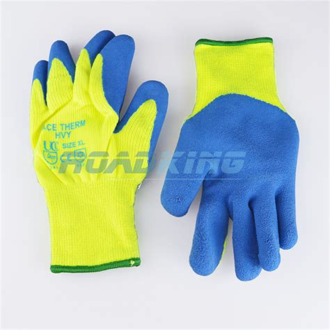 fleece lined rubber work gloves hi vis acetherm knit gloves fleece lined